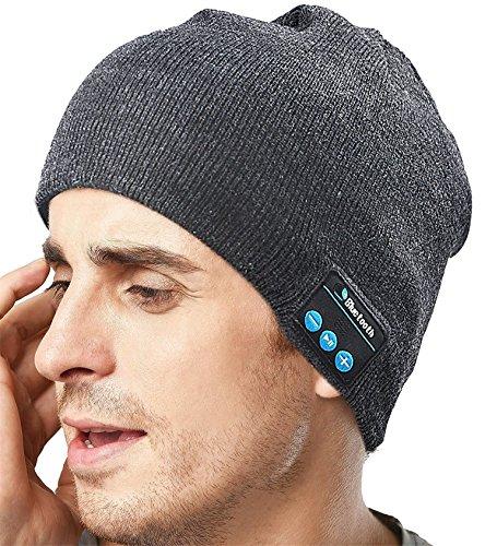 HMILYDYK Unisex Bluetooth Beanie 4.1 Draadloze Muziek Hoed Winter Gebreide Trendy Cap met Stereo Speaker Koptelefoon & Microfoon voor Hardlopen Sport, Unieke Kerst Tech Geschenken voor Vrouwen Mannen, Donker Grijs