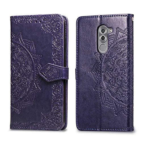 Bear Village Hülle für Huawei Honor 6X, PU Lederhülle Handyhülle für Huawei Honor 6X, Brieftasche Kratzfestes Magnet Handytasche mit Kartenfach, Violett