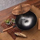 MIYVQD Wok Set, Zhangqiu Iron Pot Antiadhésive Cast Iron Pot Cuisine Accueil Cuisinière + (avec Couvercle),Withlid,30cm