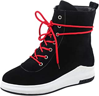 ELEEMEE Women Casual Flat Ankle Boots Round Toe Autumn Boots Lace Up