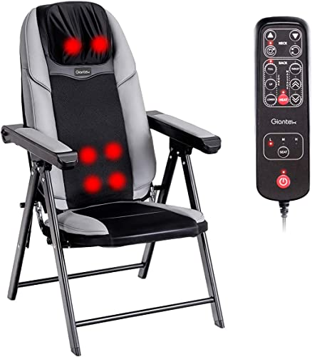 2021 Giantex Folding Shiatsu Massage Chair with sale Heat, Back Neck Massager Chair Portable, 3D Deep Kneading Rollers, 3 Vibration Massage Adjustable, USB Port, Full Body Massage Chairs for Muscle online sale Relief, Home online