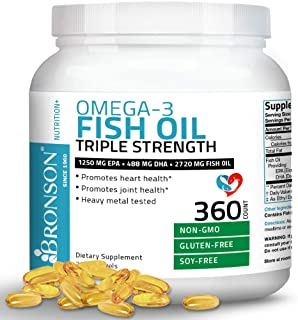Omega 3 Fish Oil Triple Strength 2720 mg - High EPA 1250 mg DHA 488 mg - Heavy Metal Tested - Non GMO - 360 Softgels