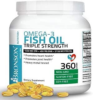 Omega 3 Fish Oil Triple Strength 2720 mg - High EPA 1250 mg DHA 488 mg - Heavy Metal Tested - Non GMO Gluten Free Soy Free - 360 Softgels
