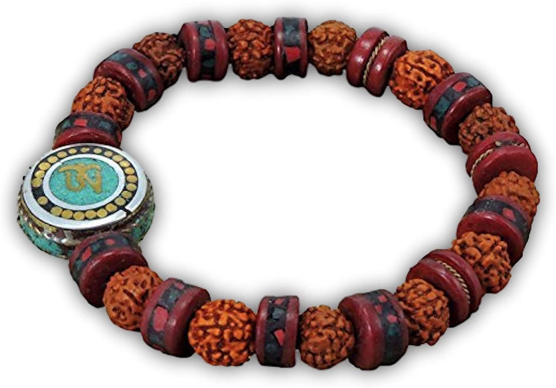 Tibetan Mala Embedded Medicine Wrist Mala for Meditation Handmade Draw String Silk Pouch (Om Charm)