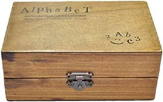 [ノーブランド品][アウトレット品] 限定・アンティークなイニシャル&数字スタンプ70個 木箱入り 活字タイプ