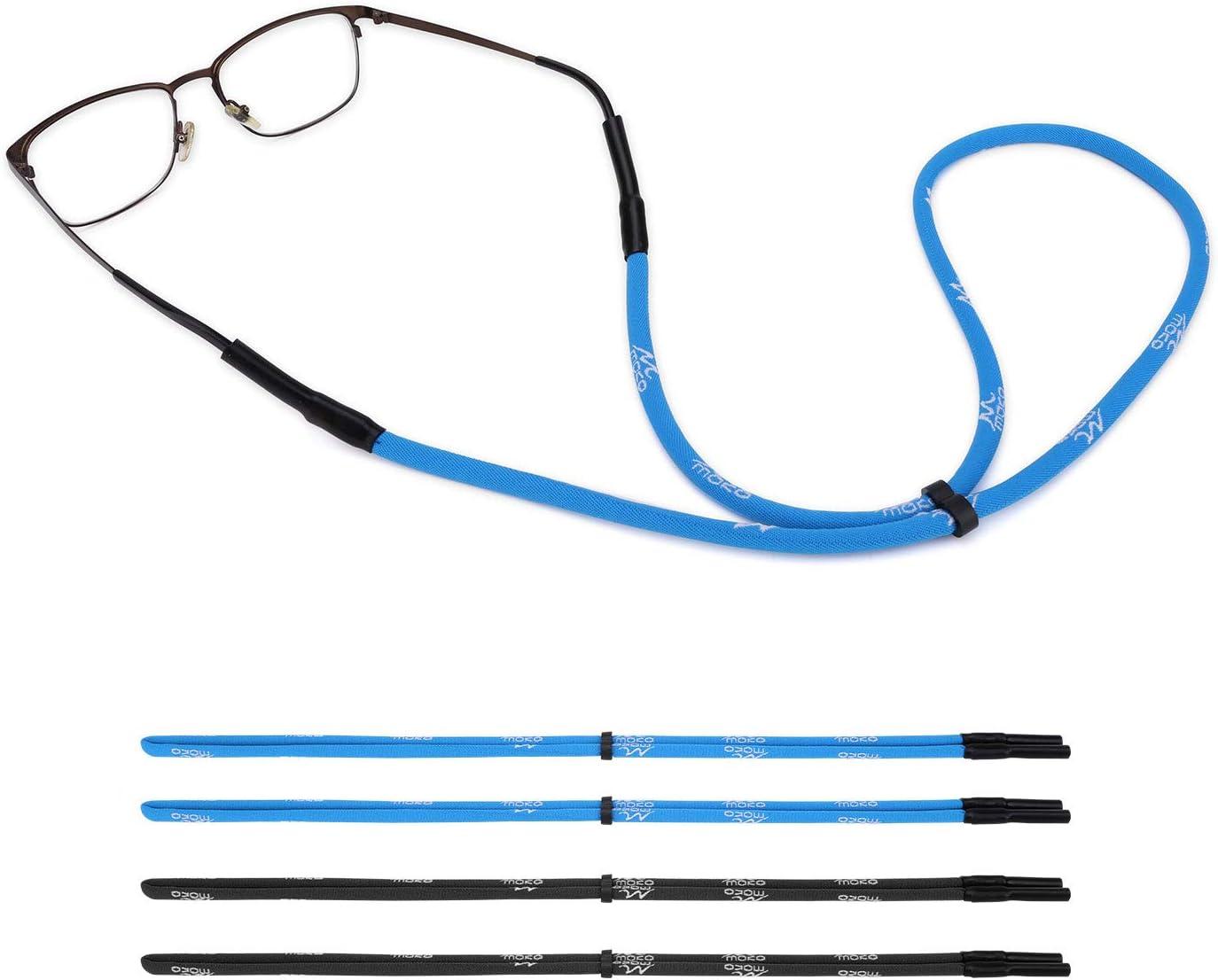 MoKo Retenedor de gafas, [4 unidades] cuerda de ajuste universal ajustable para gafas de sol, correa elástica para gafas de sol, soporte de seguridad para hombres, mujeres