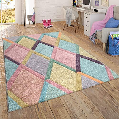 Teppich Wohnzimmer Kinderzimmer Jugendzimmer Pastell, Moderne Muster in Rosa Türkis Mint Gelb, Grösse:120x170 cm, Farbe:Mehrfarbig 6