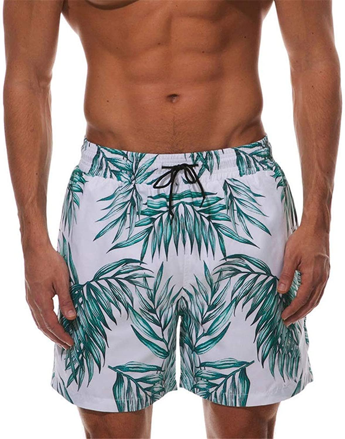 Mens Swim Trunks Mens Swim Trunks Leaf Pattern Quick Dry Beach Shorts Surfing Boardshorts Waterproof Summer Holiday Swimwear Bath Swimsuits Casual Sport Swimming Short (color   White, Size   XXL)