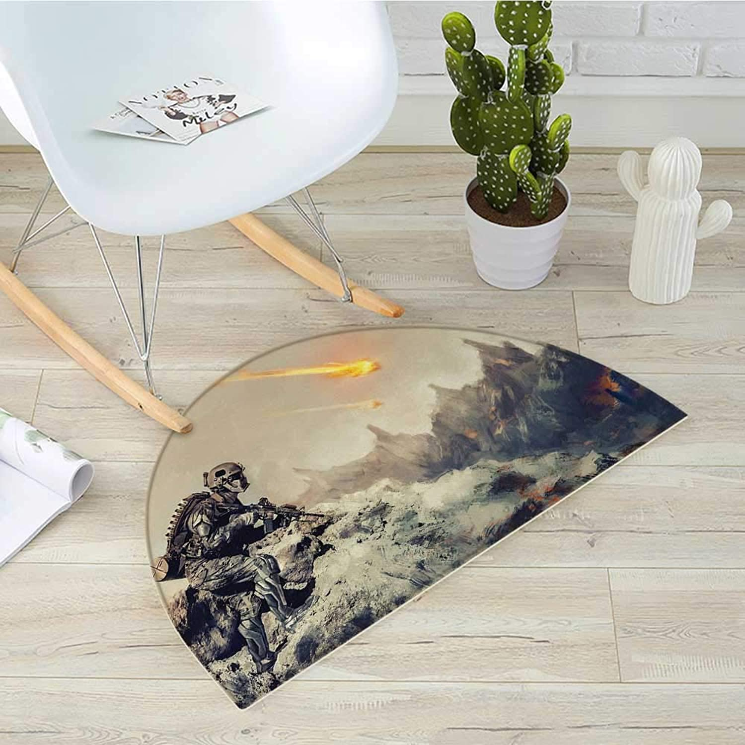 Outer Space Half Round Door mats Futuristic Mechanical Tecnology in The Alien Planet Saving The World Illustration Bathroom Mat H 39.3  xD 59  Grey