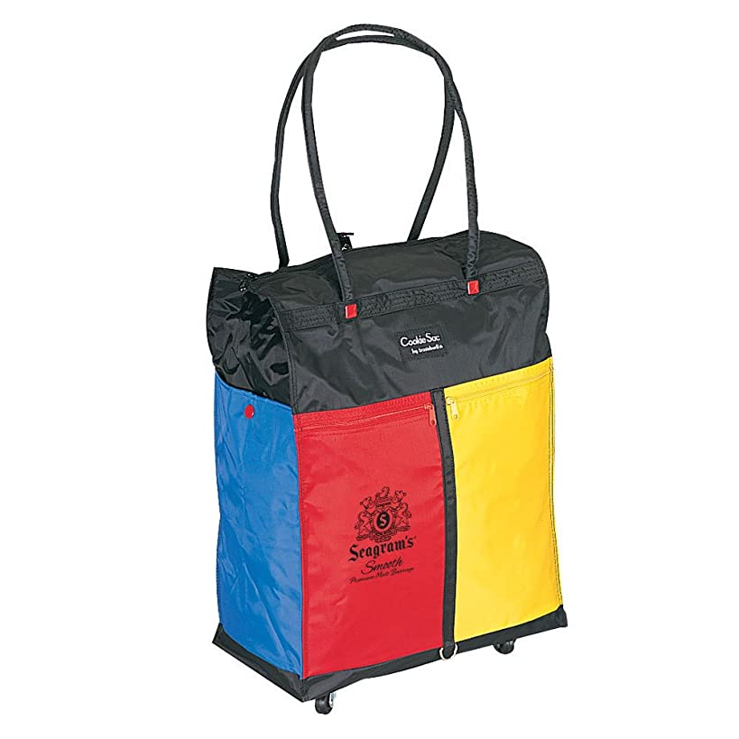 Goodhope Colorful Shopping Tote with 4 Wheels Black [Set of 2]
