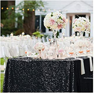 B-COOL 50X50 inch Square Black Sequin Table Overlay SQUARE Sequin Tablecloth Sparkle Glitz Tablecloth Popular Sequin Decoration Tableclcoth