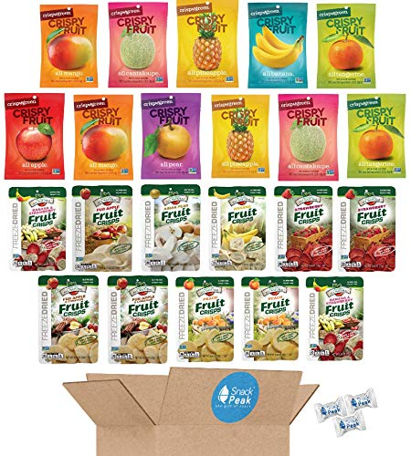 Freeze Dried Fruit Crisps Snack Peak Variety Gift Box - Brothers All Natural and Crispy Green- 22 Pack