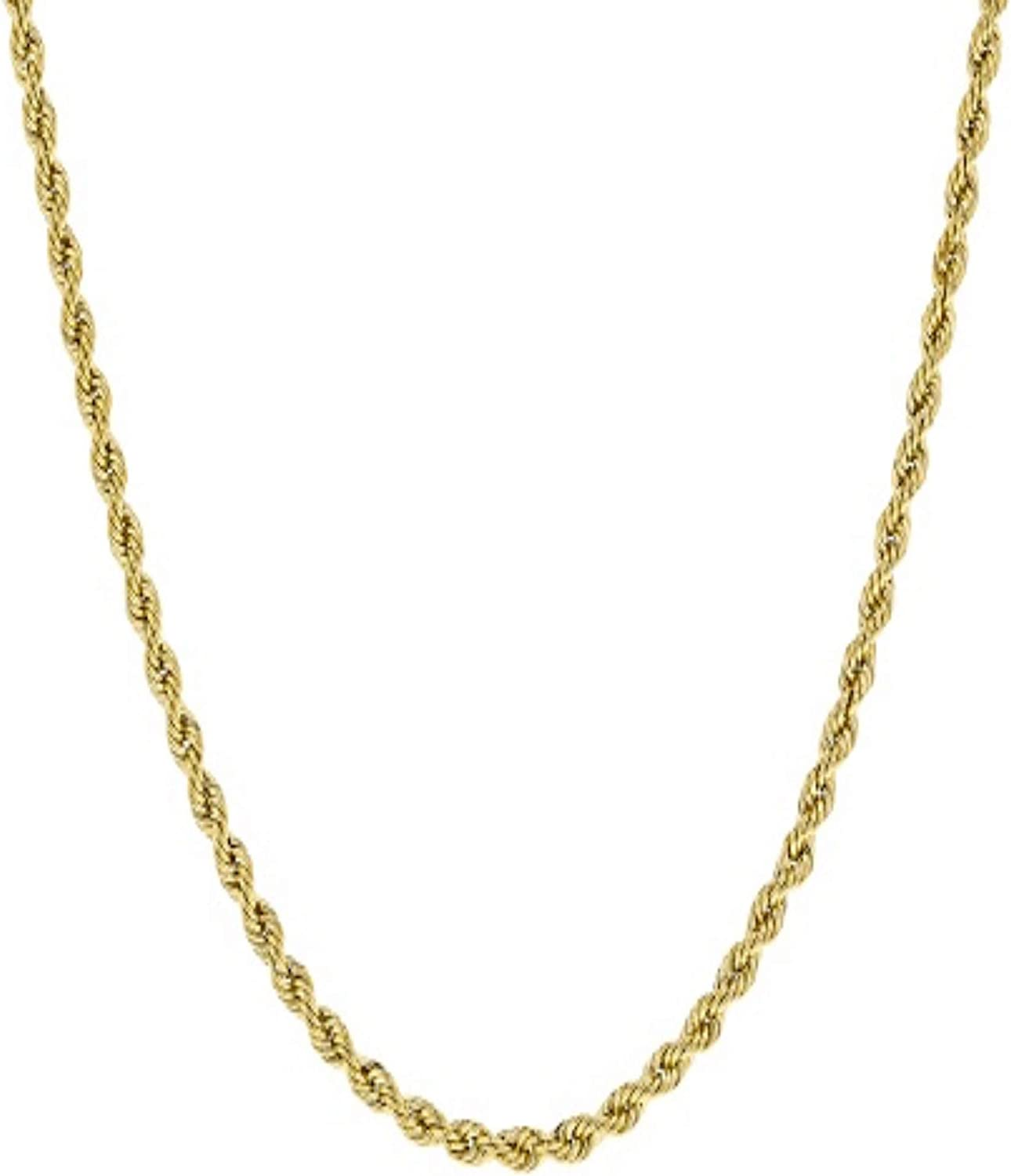 Essential Elixir 3mm Rope Chain Necklace 24k Real Gold P 20cm Cheap mail order gift specialty store