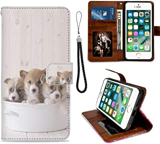 Wallet Case for iPhone 7 (2016) and iPhone 8 (2017) 4.7 Version Corgi Puppy with Coin Slot