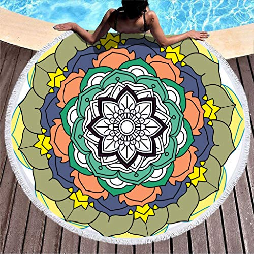 Dofeely Roundie Picknickdeken, rode mandala-print, ultralicht, strandkleed, bommeln, tapijt, meditatie, yogamat, tapijt, rounde, picknickdeken, kunst, 59 inch