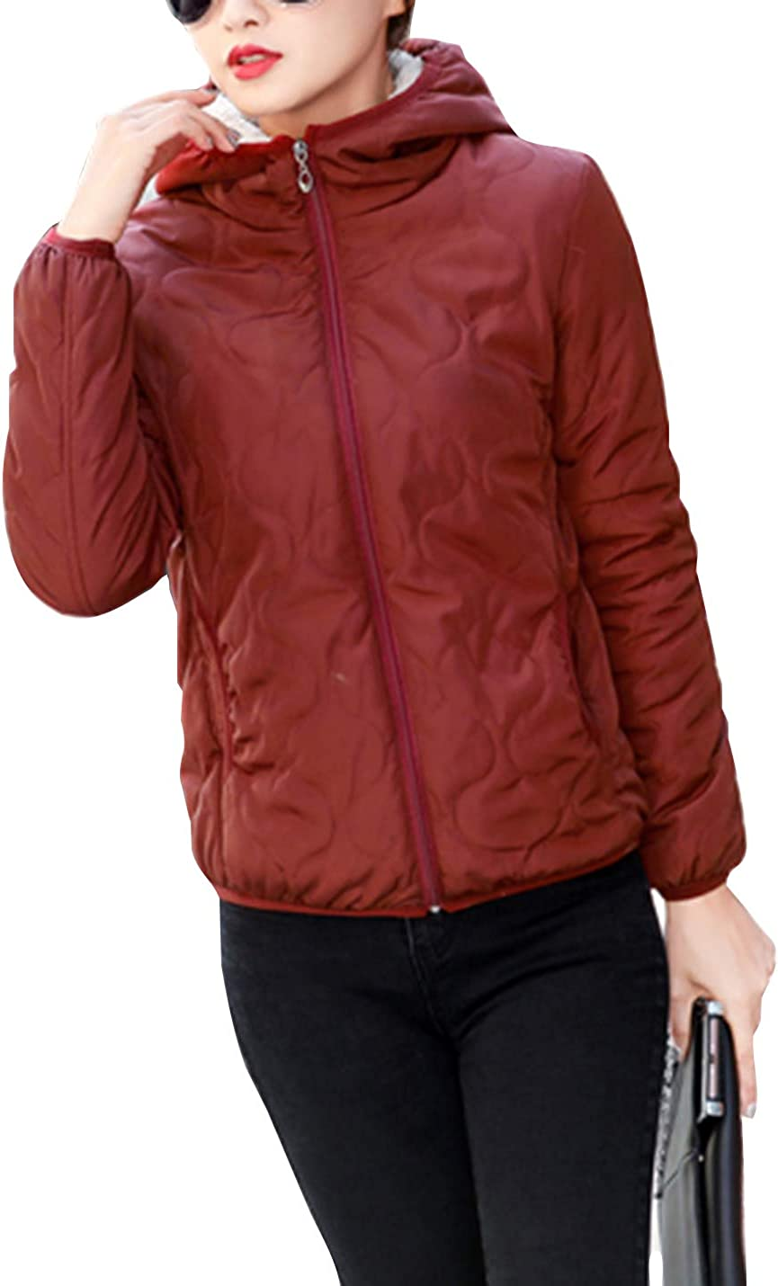 Lentta Womens Casual Thick Fleece Lined Puffy Quilted Winter Coats Warm Hoodie Parkas