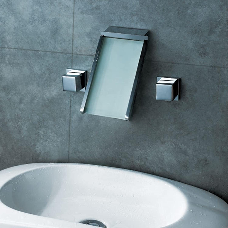 Fen Drei setzt der Wasserhahn Full Copper Hot und kalten Waschbecken Mischbatterie LED Luminous Creative Wasserfall Wasserhahn Waschbecken Wasserhahn