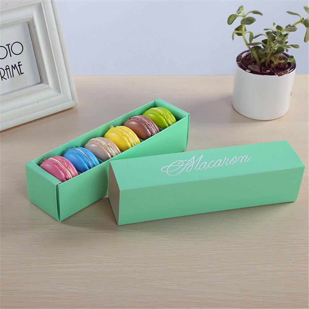 hmqd 10pcs postre macaron caja 6 cavidades Macarons pastelería galletas cajas de embalaje de regalo boda favorece: Amazon.es: Hogar