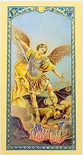 Gifts by Lulee, LLC Oracion a San Miguel Arcangel Tarjeta De Rezo Laminada Bendecida por Su Santidad e Importada de Italia con Acentos en Oro