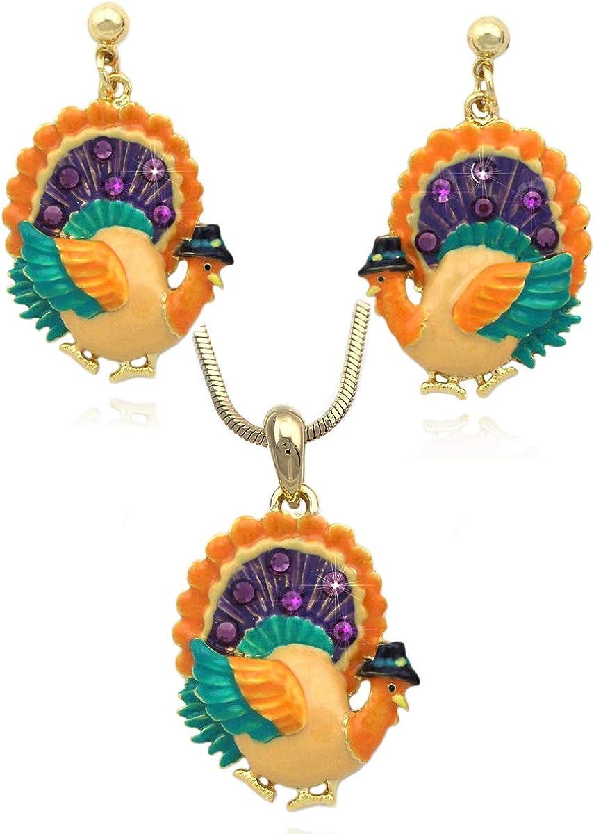 Autumn Fall Harvest Pumpkin Turkey Earrings Necklace Set Thanksgiving Halloween Jewelry Set