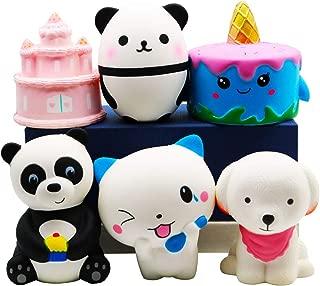 YOAUSHY 6 Pack Jumbo Squishies Slow Rising Toys Soft Kawaii Unicorn Cake Panda Dog Cat Sensory Toys,Carnival Prizes,Pinata Filler,Treasure Box Classroom Birthday Gifts for Kids