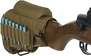 Kingnew Portable Adjustable Bracket Shell Buttstock Rifle Cheek Rest Pouch Holder Ammo Carrier Case(Khiki)