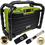 EMB PKL490G-PK1 300W Power Box Jobsite Bluetooth Stereo Rechargeable Speaker - Water Splash Proof/ Shockproof/ Dustproof - Perfect for Construction Site/ Beach/ DJ Party/ Shop/ Home/ Camp, Green