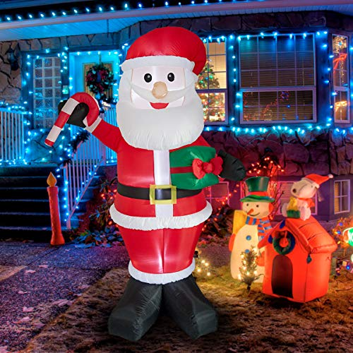 Allnice Christmas Inflatable Santa 6.9ft Giant Self Blow Up Santa Claus Xmas Decoration with Plug LED Lighted for Christmas Home Outdoor Yard Lawn Decoration