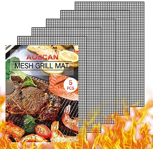 Aoocan Grill mesh mat Set of 5 Non Stick BBQ Grill mats Heavy Duty Reusable Grilling mats Easy product image