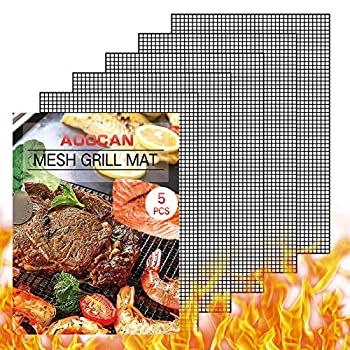 Aoocan Grill mesh mat - Set of 5 Non Stick BBQ Grill mats Heavy Duty Reusable Grilling mats Easy to Clean - Works on Gas Charcoal Pellet Grill - 15.75 x 13 in Black