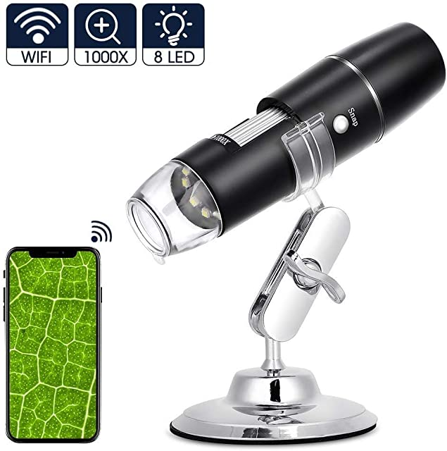 Microscopio Digital WiFi Recargable 1000x Microscopio USB Portatil HD con Zoom 8 LED USB 2.0 Soporte de Metal Min Microscopio Endoscopio Camara para iPhone iOS Android iPad