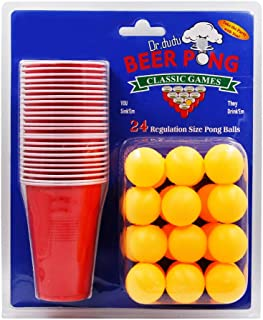 DR.DUDU Beer Pong Cups and Balls Set, Giant Beer Pong Game Set with 24 Cups 24 Pong Balls, 16oz