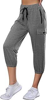 Wayleb Pantalones Capri Mujer Pantalones Piratas Mujer 3/4 Pantalon Deporte Pantalones Chandal para Casual Yoga Fitness Jo...
