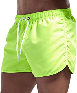 haoricu Men's Beach Shorts Quick Dry Surfing Swim Trunks Elastic Drawstring Shorts Multi-color Optional