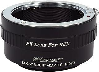 KECAY Adaptador de Lente para Pentax K (PK) Lente Adaptador a Sony Alpha NEX E-Mount Cámara para Sony NEX-3 NEX-3C NEX-5 NEX-5C NEX-5N NEX-5R NEX-6 NEX-7 NEX-F3 NEX-VG10 VG20