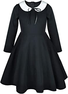 Girl's Short and Long Sleeve Casual Vintage Peter Pan Collar Fit and Flare Skater Party Dress 2-12 Years