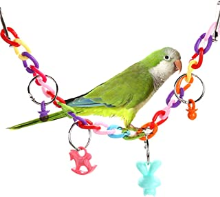 Sanwooden Funny Parrot Toy Colorful Parrot Pet Bird Acrylic Cage Bridge Swing Ladder Biting Chew Climb Toy Pet Supplies
