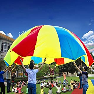 QGT Toys 7m Children Outdoor Game Exercise Sport Toys Rainbow Umbrella Parachute Play Fun Toy with 32 Handle Straps for Families/Kindergartens/Amusement Parks