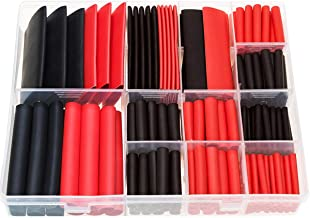 RockDIG 200pcs 3:1 Heat Shrink Tubing Double-Wall Adhesive Lined Tube 7 Sizes 1 3/4 1/2 3/8 1/4 3/16 1/8 Inch Black Red