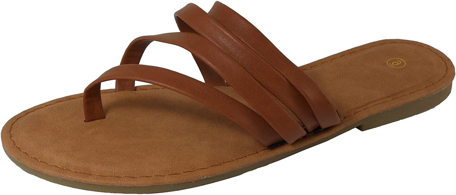 Cambridge Select Women's Strappy Thong Slip-on Flat Slide Sandal
