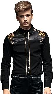 Stylish Black Embroidery Men Shirt Long Sleeve Slim Fit Non Iron