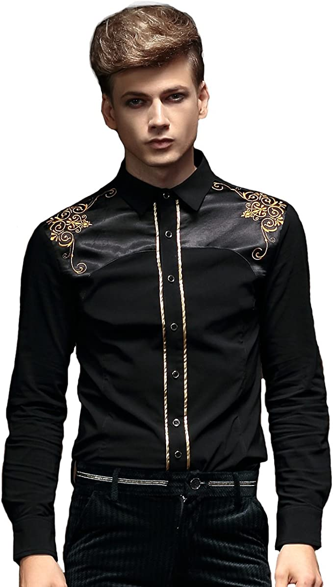 FANZHUAN Camisa De Vestir Hombre Slim Fit Negra Elegantes Non Iron