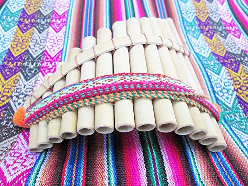 Peruvian Artisanal Medium Pan Flute 13 Pipes Curved Hand Made Fair Trade Instrument Andes