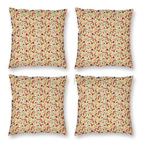 Pillow Covers 18 x 18 Inch Set of 4, Thanksgiving Colorful Autumn Leaves Seasonal Foliage Maple Oak Aspen Trees Botany Decorative Throw Pillow Case Cushion Cover for Sofa Couch Sofa Home Decor