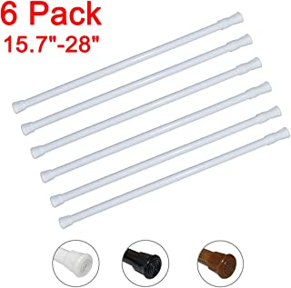 6 Pack Spring Tension Curtain Rod Adjustable Length for Kitchen, Bathroom, Cupboard, Wardrobe, Window, Bookshelf DIY Projects (White - 6 Pack,15.7