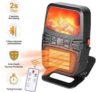 Mini Estufa Eléctrica Calefactor Cerámico de Aire Caliente de Ventilador - Calefactor Portátil Pared con Salida de Pared y Pantalla Digital con Temporizador Ajustable para el Hogar/Oficina