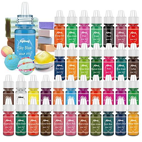 Colorante Jabón - 36 Colores Colorante de Bomba de Baño Líquido para Fabricación de Jabón, Tinte de Jabón para Kit de Suministros de limo, bombas de baño hechas a mano - 6ml Cada Uno