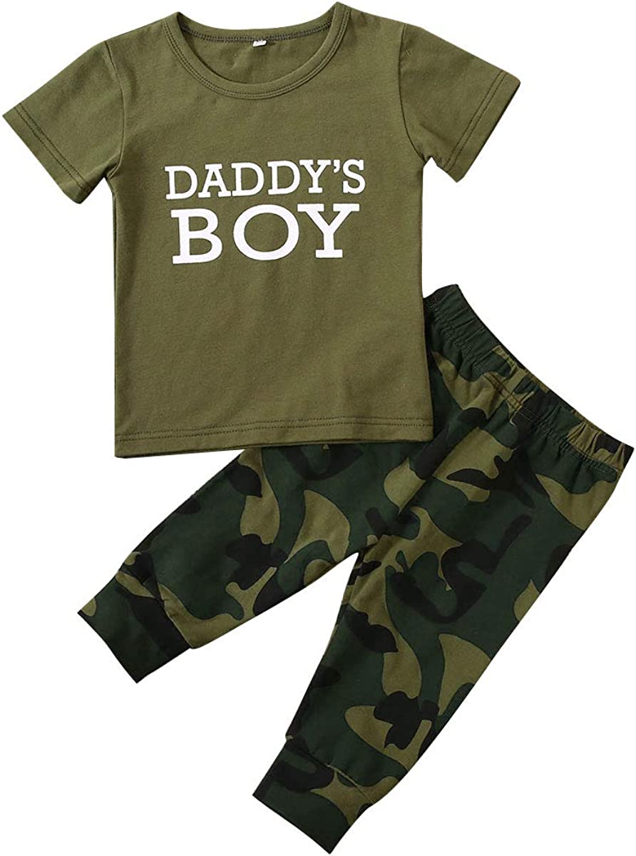 Baby Girl Boy Clothes Mommy Daddy Sayings Top Printed T-Shirt Camouflage Pants+Headband Outfit Set
