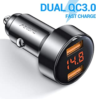 Car Charger Adapter, AINOPE Dual QC3.0 Port 6A/36W USB Car Charger All Metal Cigarette..