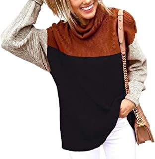 Women Casual Color Block Long Sleeve Turtleneck Sweater Pullover Knit Jumper